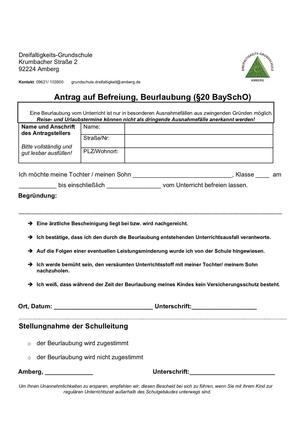 Antrag auf beurlaubung schule